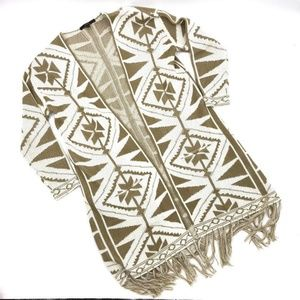 BCBG MaxSport Long Cardigan Sweater L Aztec Duster